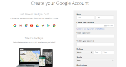 google create account