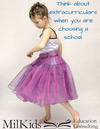 Think about extracurriculars when you are choosing a school.