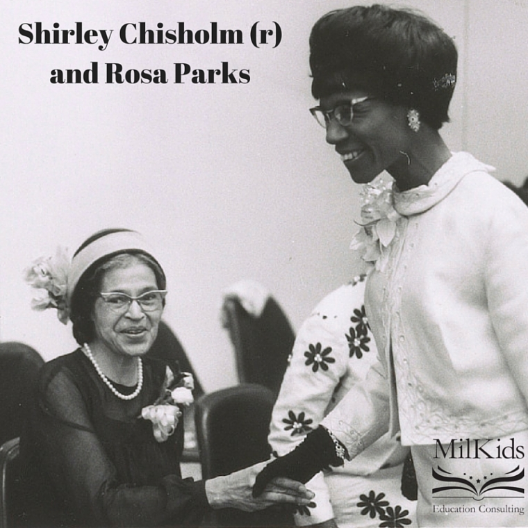 Shirley Chisholm (r) and Rosa Parks
