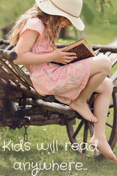 Kids will read anywhere...